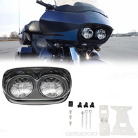 Dual Black 6000K LED Moto Projector Headlight Bulb Assembly For Harley Road Glide Led Headlight