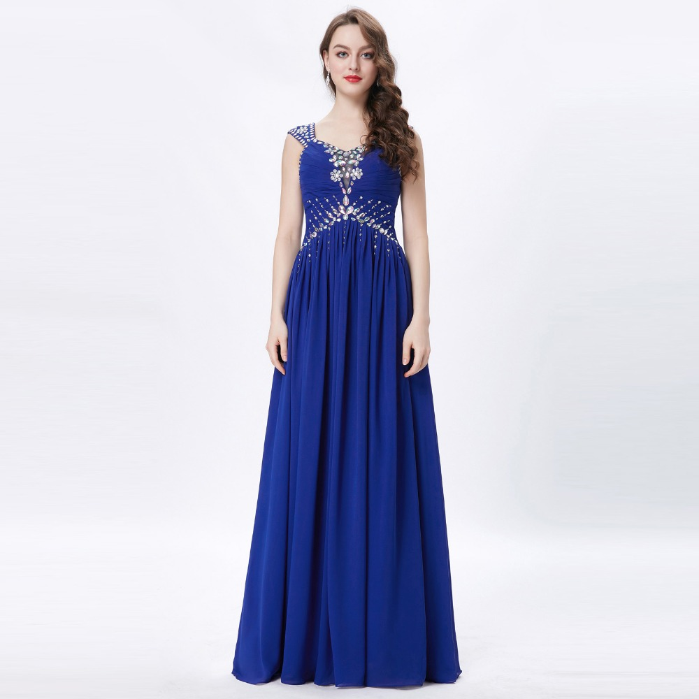 Grace Karin Womens Evening Dresses 2017 Chiffon Elegant Royal Blue Formal Dresses Evening Wear Beaded Long Wedding Party Gowns 6
