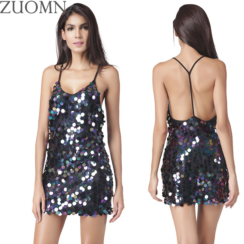Buy Cheap ZUOMN Sexy Sequined Flash Party Dresses Women V-neck Black Rose Backless Dress Club Wear Dresses Large Size Bad Girls Clothes Y3