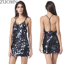 ZUOMN Sexy Sequined Flash Party Dresses Women V-neck Black Rose Backless Dress Club Wear Dresses Large Size Bad Girls Clothes Y3