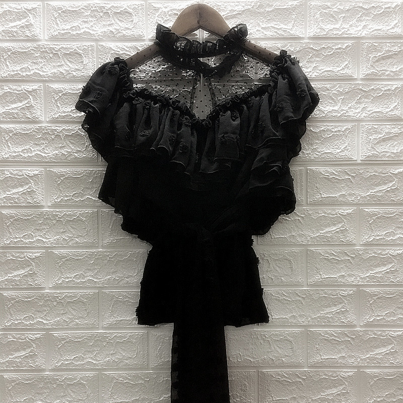 2019 New Sexy Lace Mesh Women Tops Elegant Ruffled Sashes Female Tops And Blouses Summer Casual Short Sleeve Black White Blouses