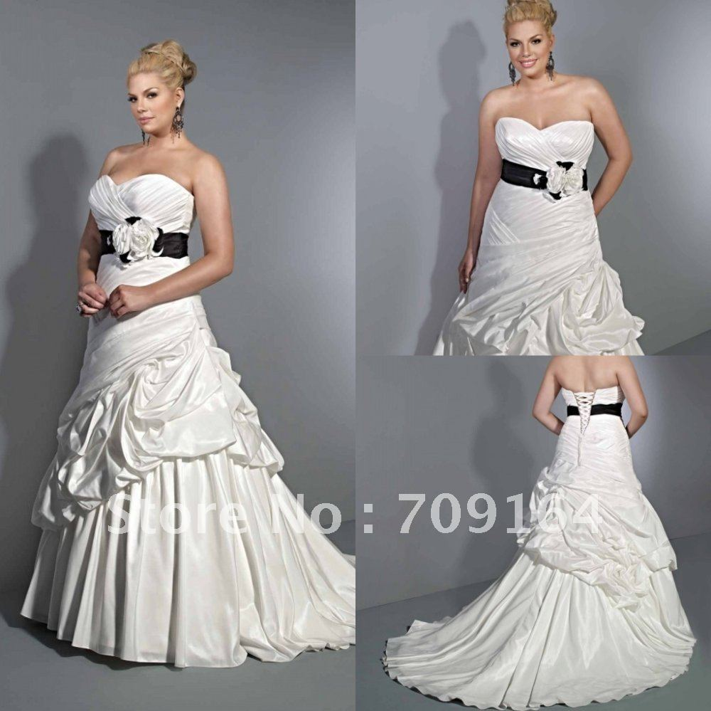 New Design Sweetheart Flower Ruched Black Sashes Wedding Gowns Plus Size  FW274 In Wedding Dresses From Weddings U0026 Events On Aliexpress.com | Alibaba  Group