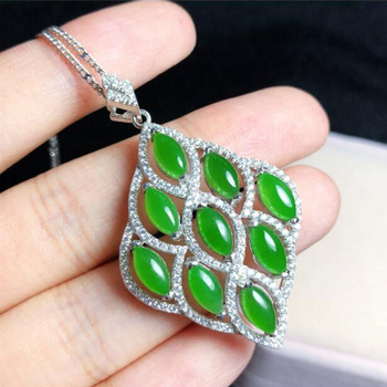 yu xin yuan boutique jewels S925 silver inlay natural jade lady pendant + necklace jewelry plant leaves women jewelry