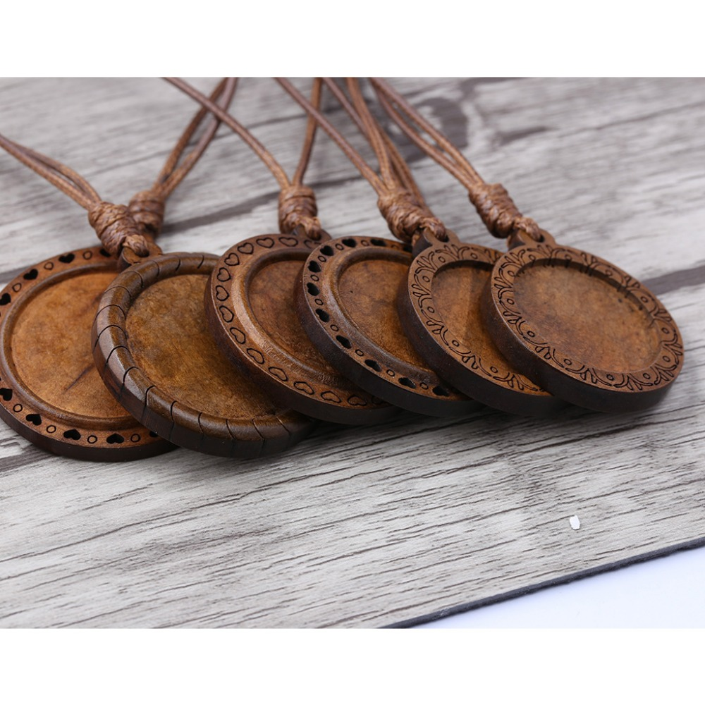 onwear 5pcs wood cabochon settings 25mm 30mm inner size blank cameo pendant base trays with leather cord for jewelry making