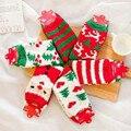 Nuevo Invierno Cálido Calcetines Mujeres Cut Alces Santa Claus Calcetines Toalla Niñas Coral Polar Calcetines de Regalo de Navidad