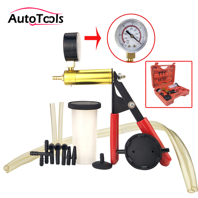 2 In 1 Hand Held Car Vacuum Pump Tester Set Brake Bleeder Bleeding Tool Diagnostic With Gauge