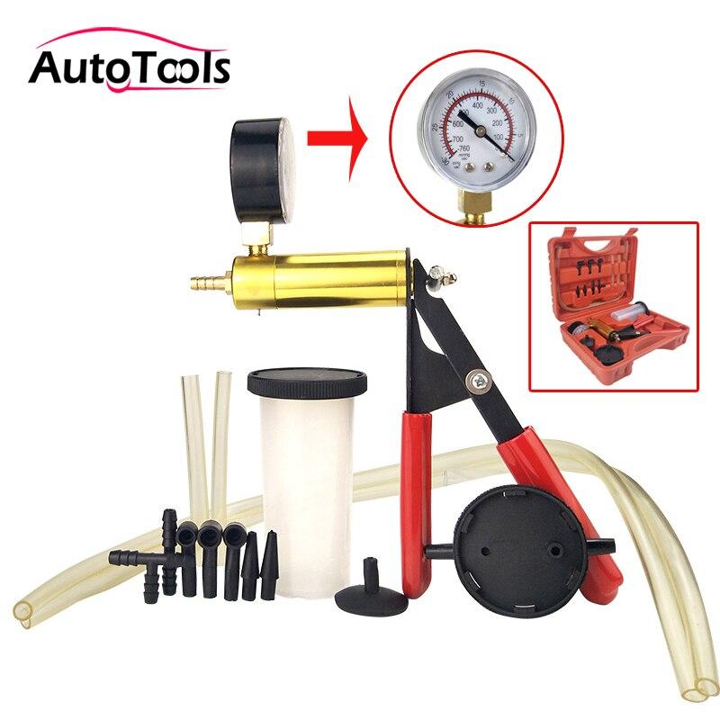 2 in 1 Hand auto Vakuum Pumpe Tester Set Bremsentlüftungs Blutungen Tool auto Diagnose tool mit Vakuum gauge auto werkzeug-in Druck- & Vakuumtester aus Kraftfahrzeuge und Motorräder bei