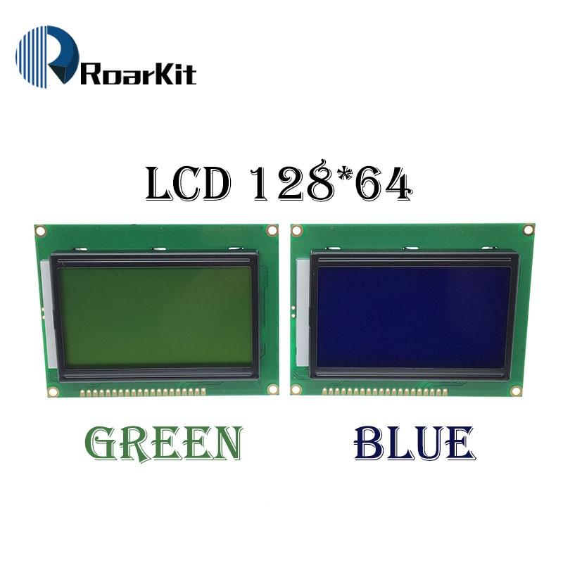 Módulo amarelo verde lcd 128*64 pontos, tela azul 5v 12864 lcd com retroiluminação st7920 porta paralelo para raspberry pi arduino