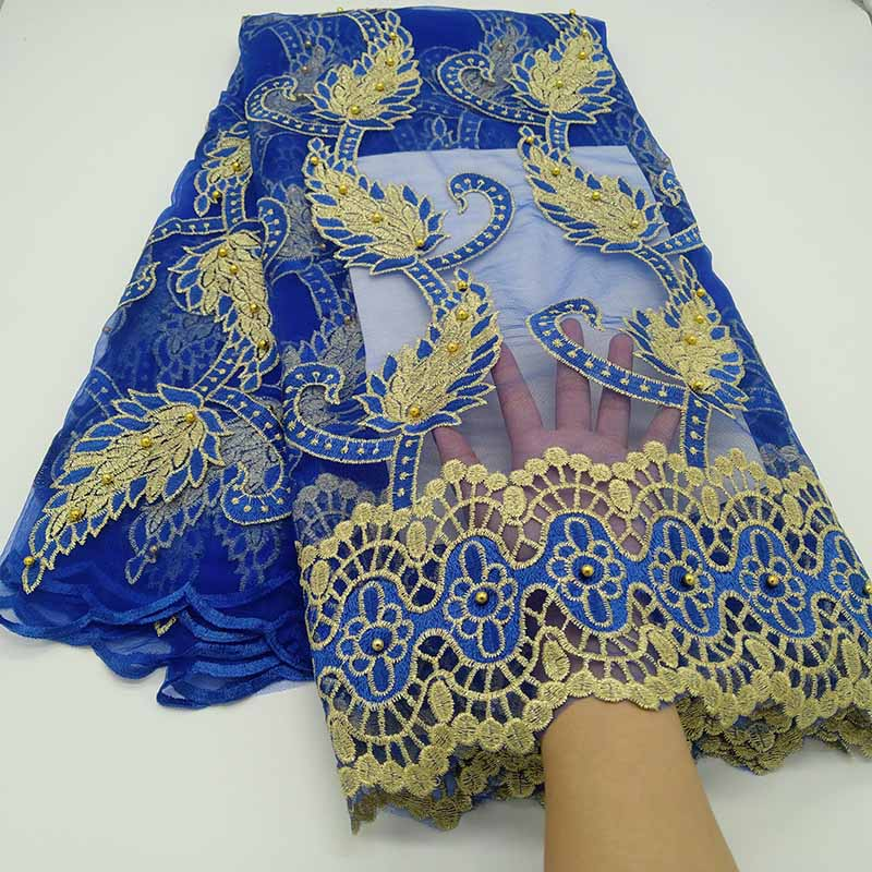 New Blue African Guipure Lace Fabric 2019 High Quality Embroidered French Tulle Mesh Lace Fabric Nigerian