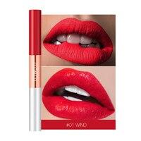 6 цветов матовая помада и Блеск увлажняющий крем для губ стойкий телесный водостойкий макияж, жидкий стойкий красный оттенок
