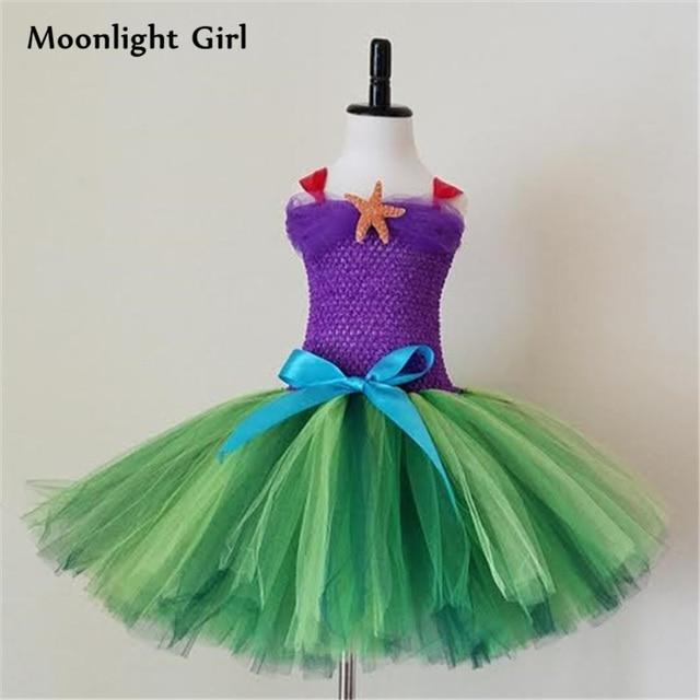 Us 18 24 30 Off Purple Green Little Mermaid Costume Girls Tutu Dress Bow Starfish Birthday Party Dress Halloween Costume For Kids Clothes Pq060 In