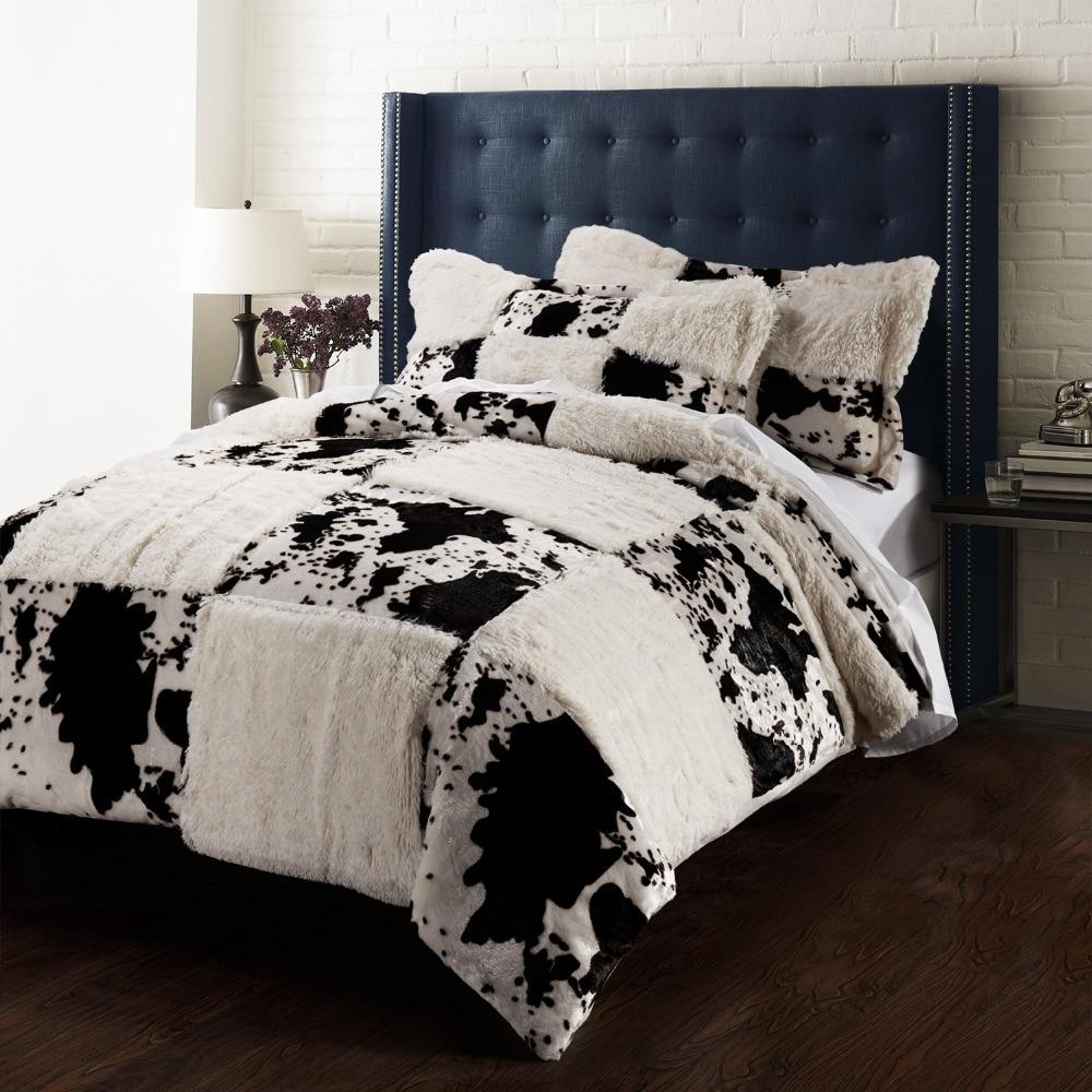 Печати Pv бархат Стёганое одеяло крышка набор корова incluidng 1 пододеяльник 2 pillowsham
