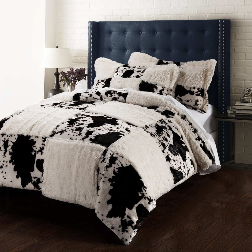 Printing Pv velvet Quilt Cover Set cow incluidng 1 duvet cover 2 pillowsham
