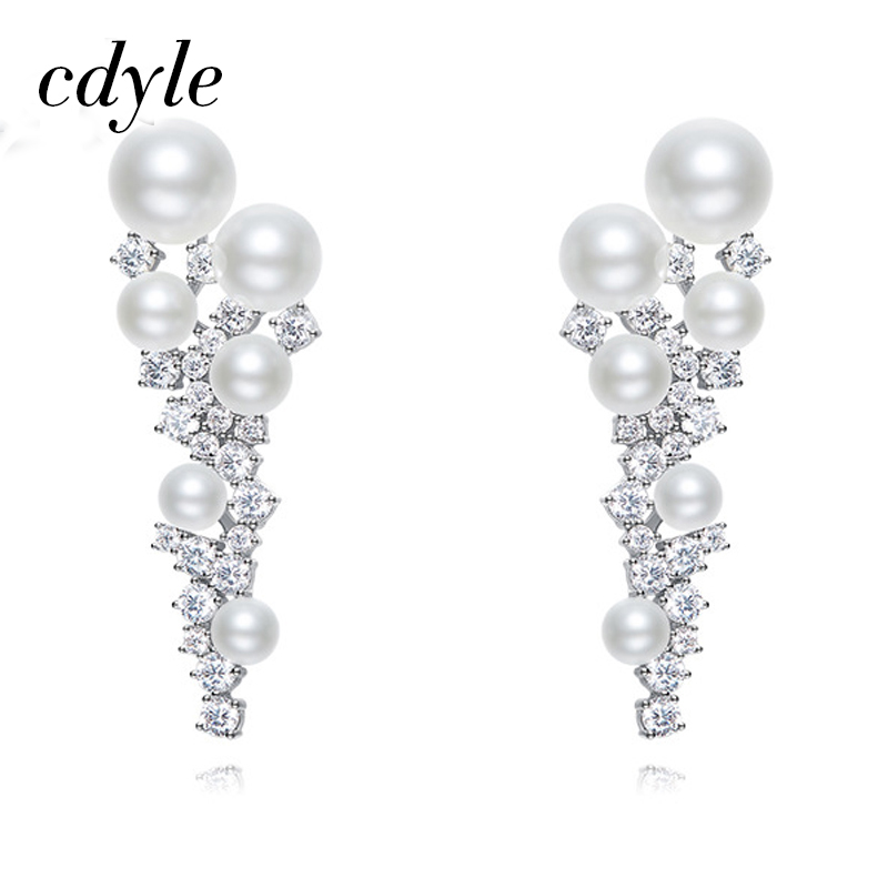 Cdyle Sliver Color Dangle Earrings Women Earring Luxury Fashion Jewelry Simulated Pearl Elegant Austrian Rhinestone Jewelry Gift pair of elegant spiral tiered rhinestone dangle earrings
