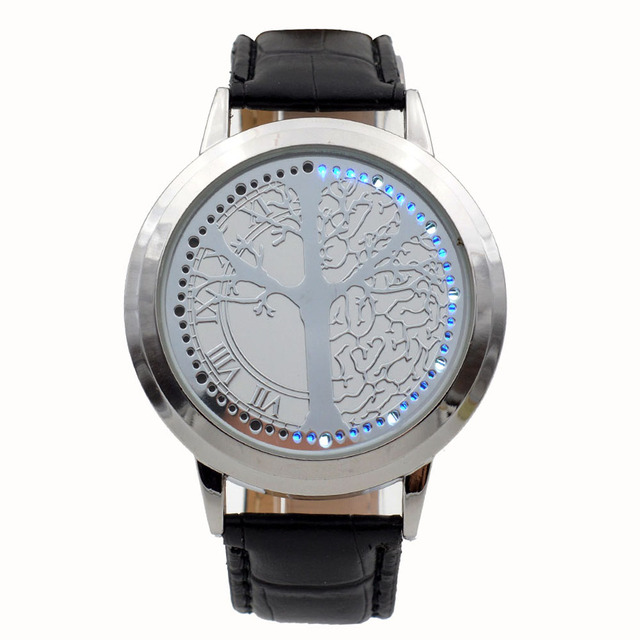Blue Light Display Touch Screen LED Watches Leather Band Quartz Wristwatch Tree