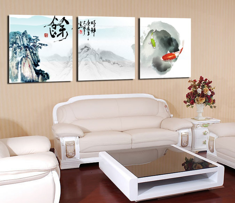 Online buy wholesale koi fish oil painting from china koi for Koi wall hanging