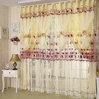 Light Yellow Curtains Flowers Embroidery Bedroom Curtains Lace Curtains 2Panels