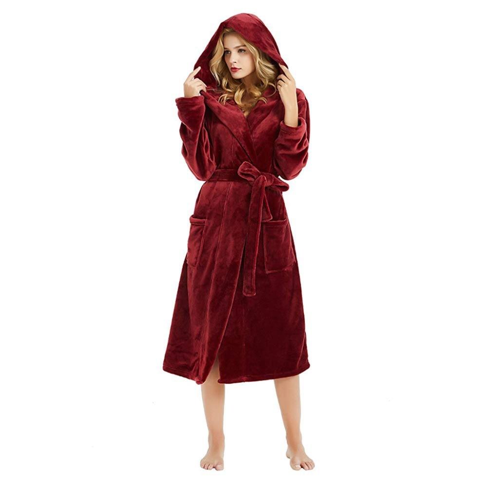 Robe Winter Velvet Warm Hooded Women Bathrobe Cartoon Sashes Cloak Thick Medium-Long Soft Night Dress Female 2018 Nightgown