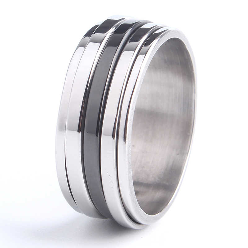 free shipping 8mm Silver Black three stripe rotation 316L Stainless Steel rings for men women wholesale