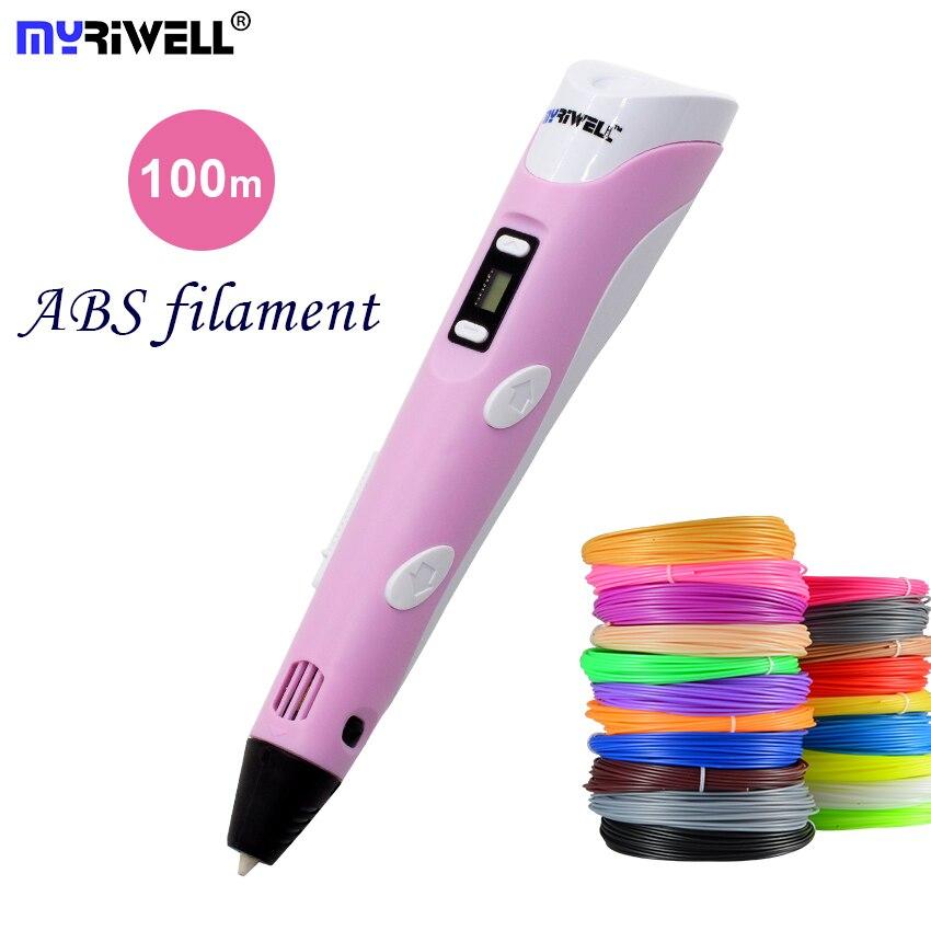 3D ручка 3D-принтеры ручка 3d печатным рисунком ручка с 100 м 20 Цвет ABS нити Magic Maker искусств LIX для студент подарок