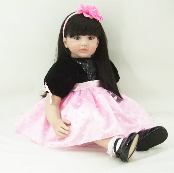 60cm Silicone Vinyl Reborn Girl Baby Doll Toys Lifelike 24inch Princess Toddler Babies Dolls Fashion Birthday Gift Bedtime Toy lifelike american 18 inches girl doll prices toy for children vinyl princess doll toys girl newest design