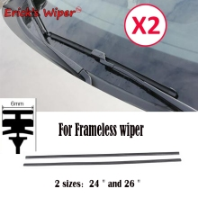 "2PCS 6mm Universal Auto Vehicle Insert Soft Rubber Strip Refill For Frameless Wiper Blades 26"" 24"" Car Accessories (Cut To Size)"