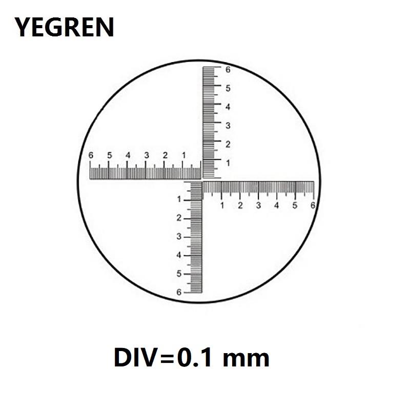 DIV 0.1 Mm Eyepiece Micrometer Biological Microscope Reticle Scale Cross Ruler 6-0-6 Area Measurement Graticle Diameter 20 Mm