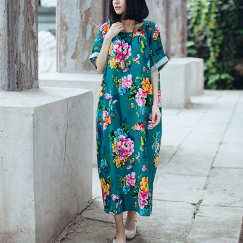 SCUWLINEN женское Летнее льняное платье в винтажном стиле с цветочным принтом и бабочками, свободное платье средней длины размера плюс, Повседневное платье S18 - Цвет: Green