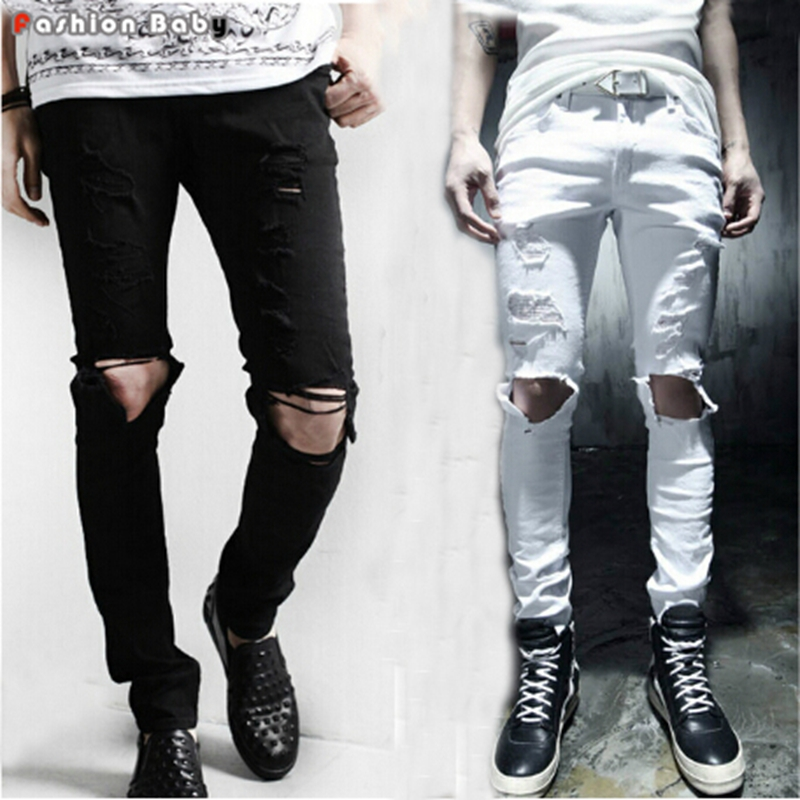 Stylish Men 39 S Hole Design Black White Distressed Skinny
