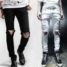 Стильная мужская Отверстия Дизайн Черный Белый Проблемные Тощий Рваные Джинсы Брюки Мода Slim-fit Нищий Карандаш Для Брюк