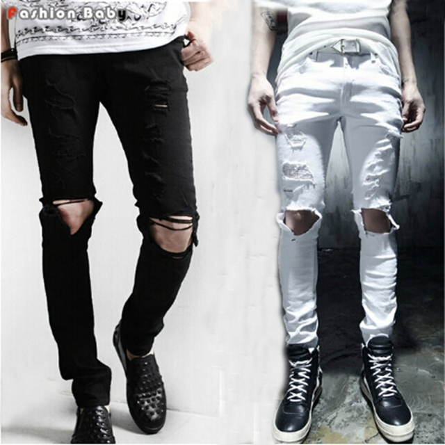 Stylish Men's Hole Design Black White Distressed  Skinny Ripped Jeans Pant Fashion Slim-fit Beggar Pencil Trouser