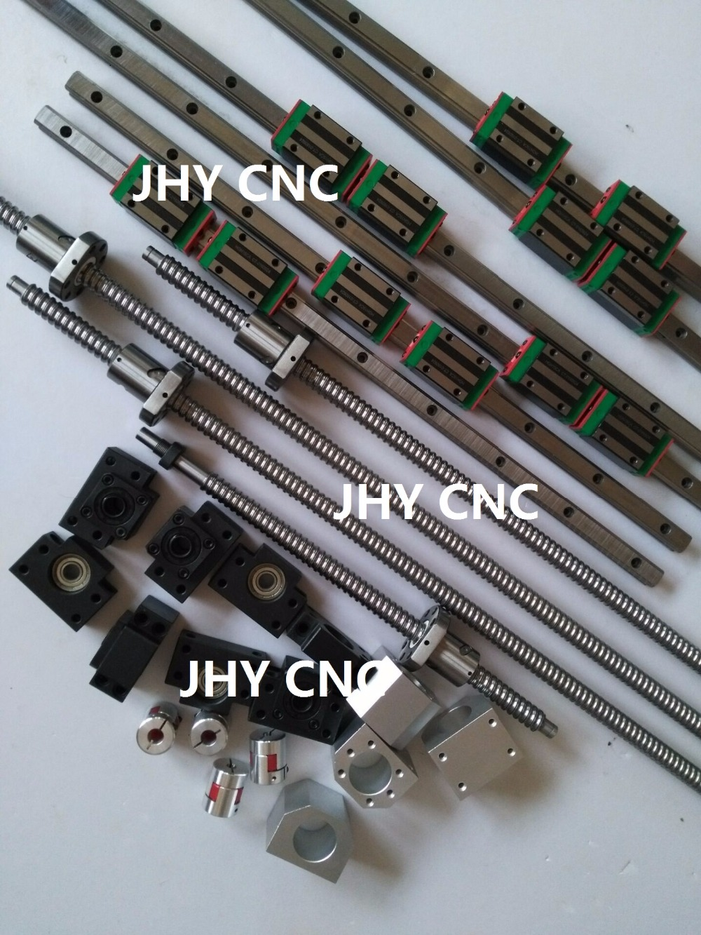 25mm JHY Linear guide rail carriages , SFU2505 Ball screws with BALLNUT and related elements + 2.2kw Spindle motor set for CNC toothed belt drive motorized stepper motor precision guide rail manufacturer guideway