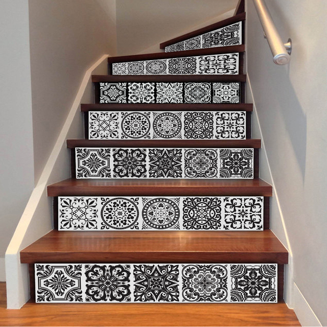 yazi 6pcs morocco style self adhesive stairs sticker pvc stair decal vinyl wall sticker mural. Black Bedroom Furniture Sets. Home Design Ideas