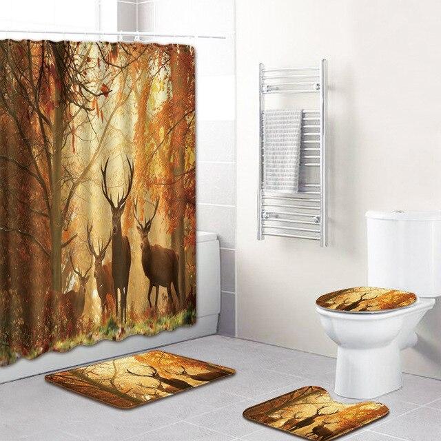 Hayvan geyik desen tasarımı 4 adet banyo perdesi su geçirmez kumaş duş perdesi halı seti tuvalet paspası banyo için