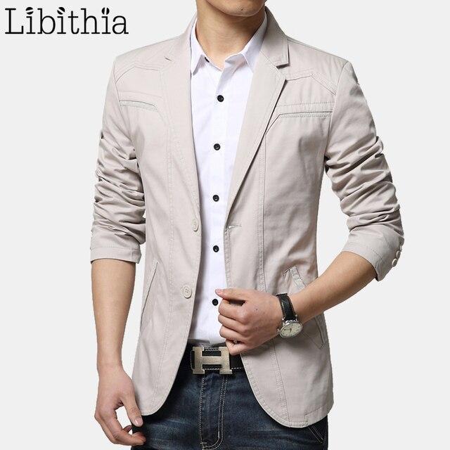 28564becab5d1 Men s Casual Suit Blazers Slim Fit Cotton Jackets Big Size M-6XL Khaki  Black Sky Blue Grey Clothes Male F086