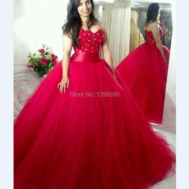 Vestidos De 15 Años Rojos Esponjados