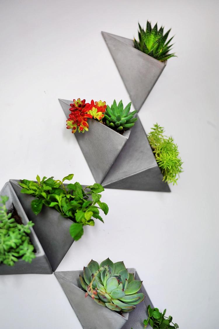Moules en silicone de gel de silice tenture murale type triangles équilatéraux moule de pot de fleurs en ciment moules en béton de silicone
