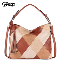 ZMQN Women Bag 2018 Patchwork Luxury Brand Designer Handbags PU Leather Hobo Shoulder Bags For Female