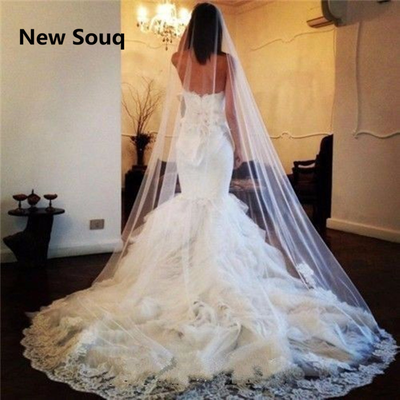 Applique Lace Long Wedding Veil with Comb Wedding Accessories Cathedral Length Summer Beach Bridal Veil In Stock