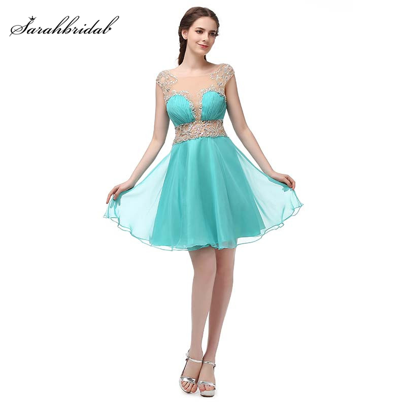 Sexy Illusion Homecoming Short Dresses With Crystal Beads Chiffon Short Party Dress 8th Grade Formal Dresses SD350