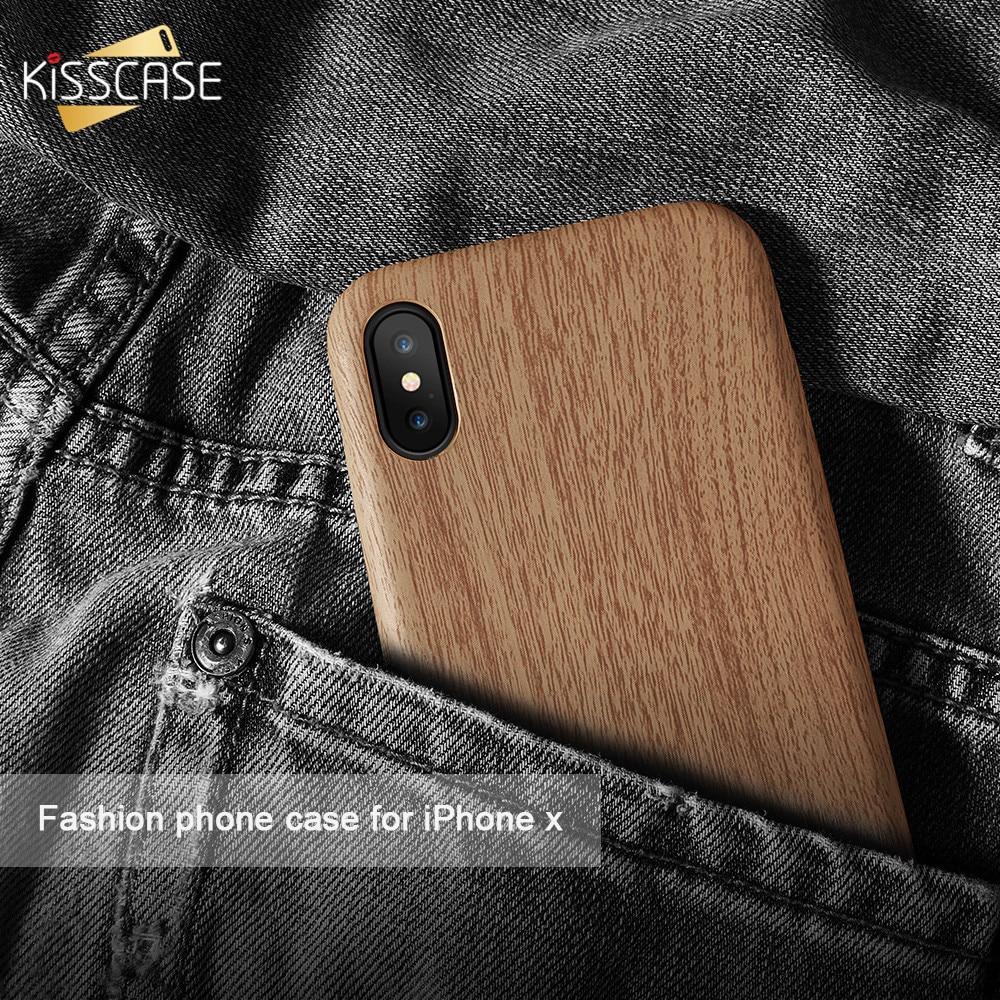 Kisscase оригинальные деревянные кожи PU кожаный чехол для iPhone 6 6S 7 8 Plus мягкий чехол для iPhone X 5 5S SE ультра тонкий Роскошные ракушками чехол на айфо...
