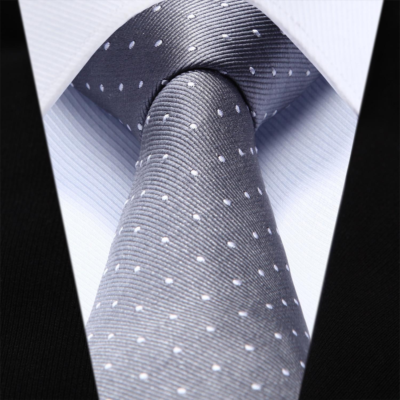 "TZD02A6 Gray Polka Dot Slim Narrow 2.6"" 100% Natural Silk Men Tie Necktie"