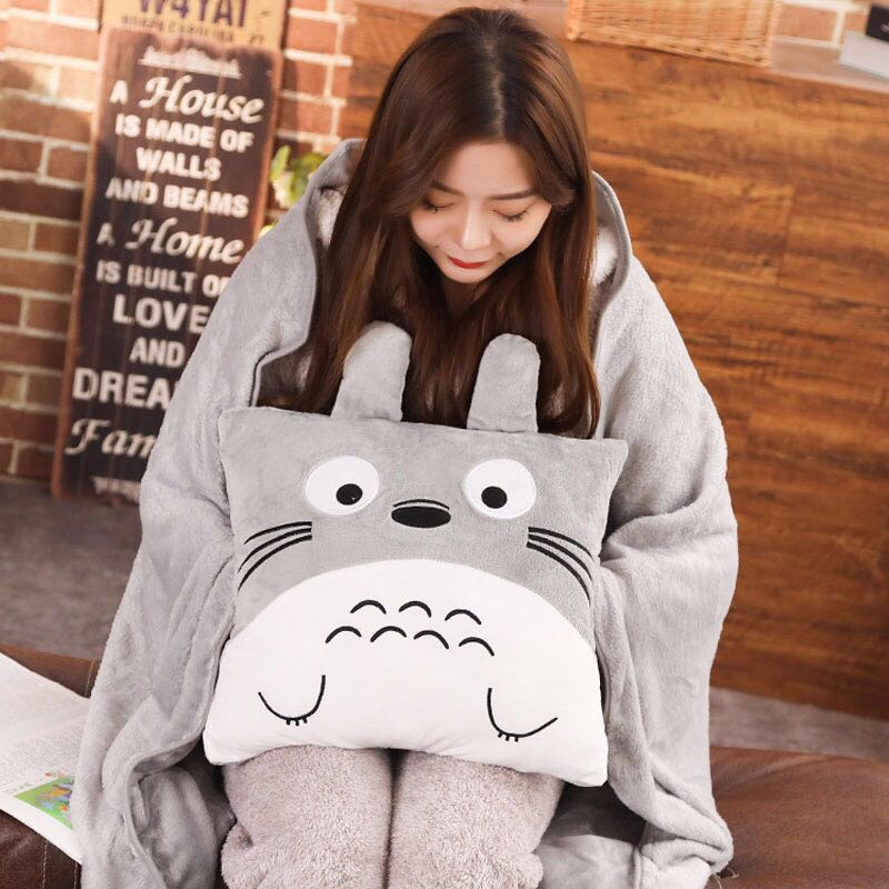 Totoro Doll Pillow With Blanket Baby Blanket Baby Blanket Cute Plush Toys Christmas Gift Adult Cushion