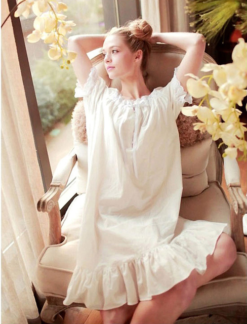 Algodão doce curto Rosa Floral Sexy Roupa Interior Vestido de Casa Camisola Branca Plus Size