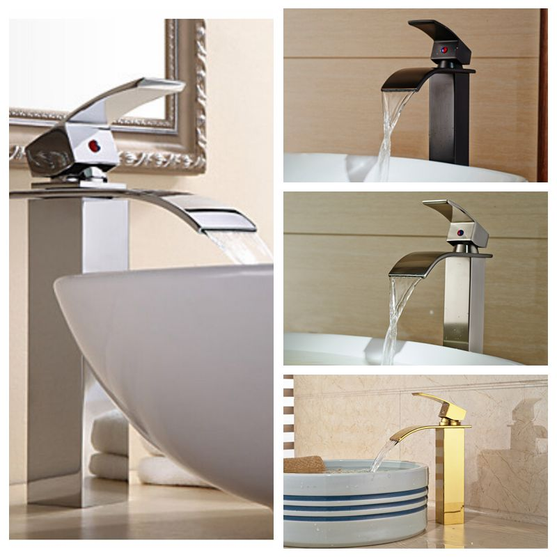 Wholesale And Retail Free Shipping Waterfall Spout Solid Brass Bathroom Basin Faucet Single Handle Hole Vanity Sink Mixer Tap waterfall spout basin sink faucet golden finish bathroom mixer tap solid brass single handle with hole cover plate