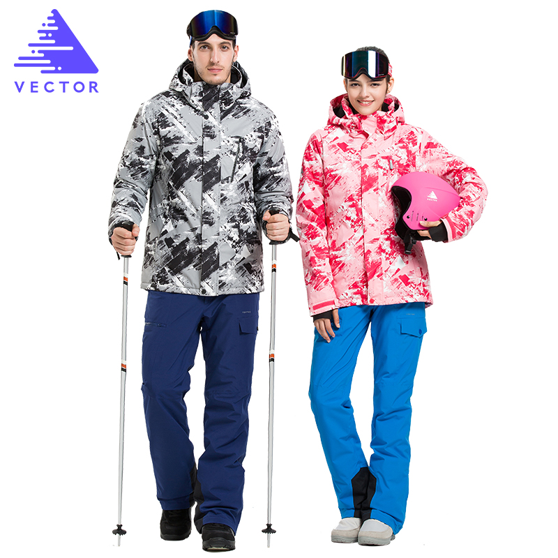 VECTOR Professional Men Women Ski Suits  Jackets + Pants Warm Winter Waterproof Skiing Snowboarding Clothing Set Brand