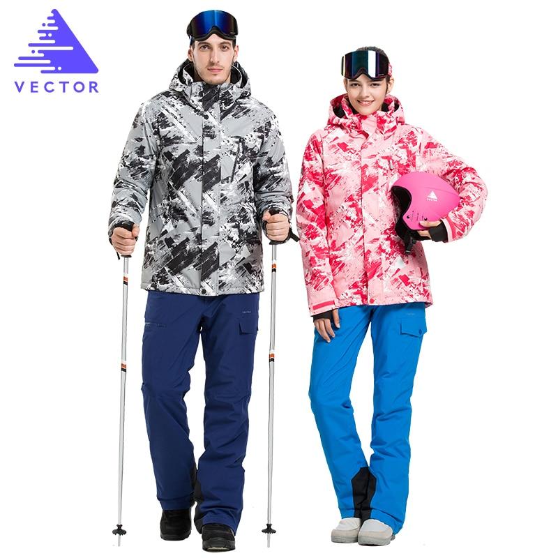 VECTOR Professional Men Women Ski Suits Jackets + Pants Warm Winter Waterproof Skiing Snowboarding Clothing Set Brand
