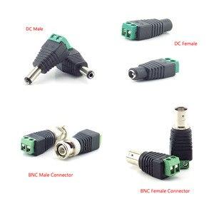 Image 2 - 2/5/10 pces 12v dc bnc macho fêmea conector coax cat5 para bnc plugue fêmea para luzes de tira led vídeo balun cctv câmera acessórios