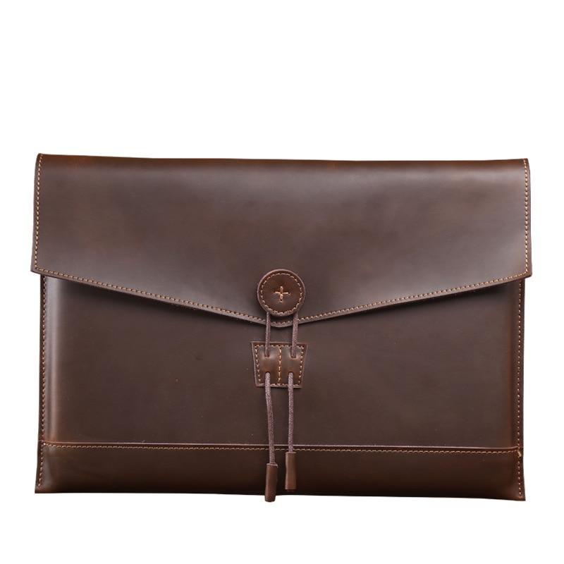 Mens genuine leather crazy horse messenger laptop bag 12/13/15 inch liner package Protective sleeve vintage minimalism briefcase