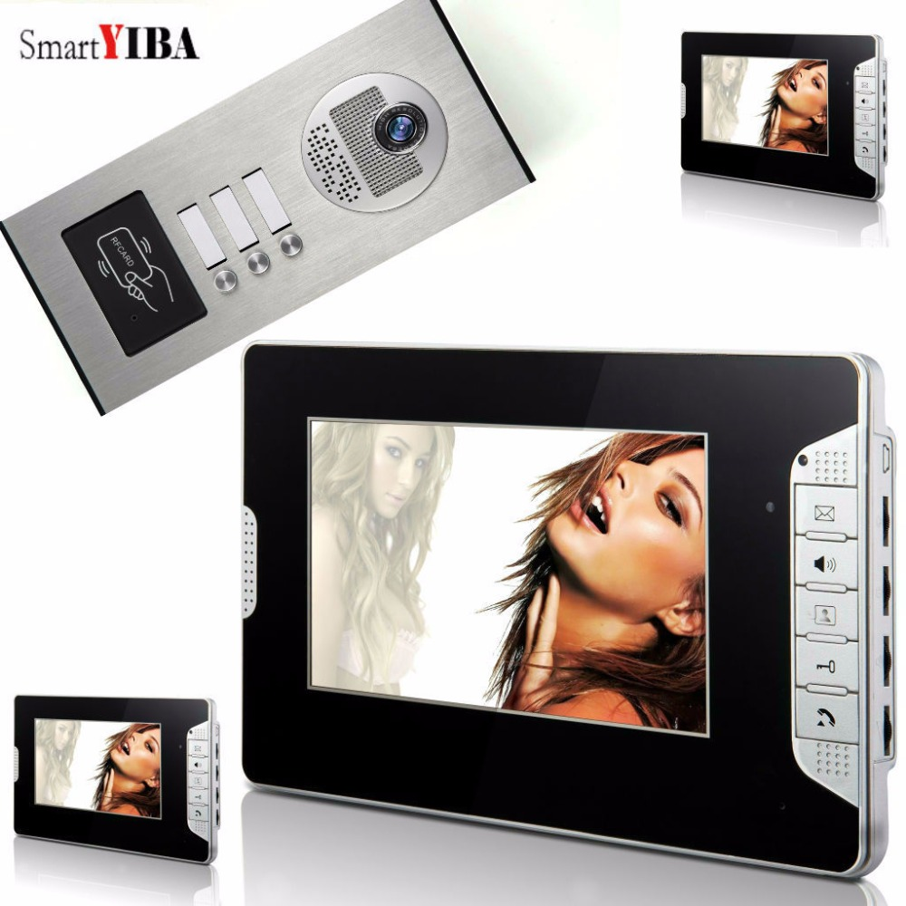 SmartYIBA Home Video Intercom 7 Inch Video Door Phone Doorbell Door Chime RFID Access Control System For 3 Unit ApartmentSmartYIBA Home Video Intercom 7 Inch Video Door Phone Doorbell Door Chime RFID Access Control System For 3 Unit Apartment